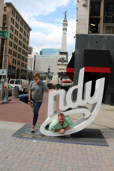 Lydia and Mark with the Indy sign