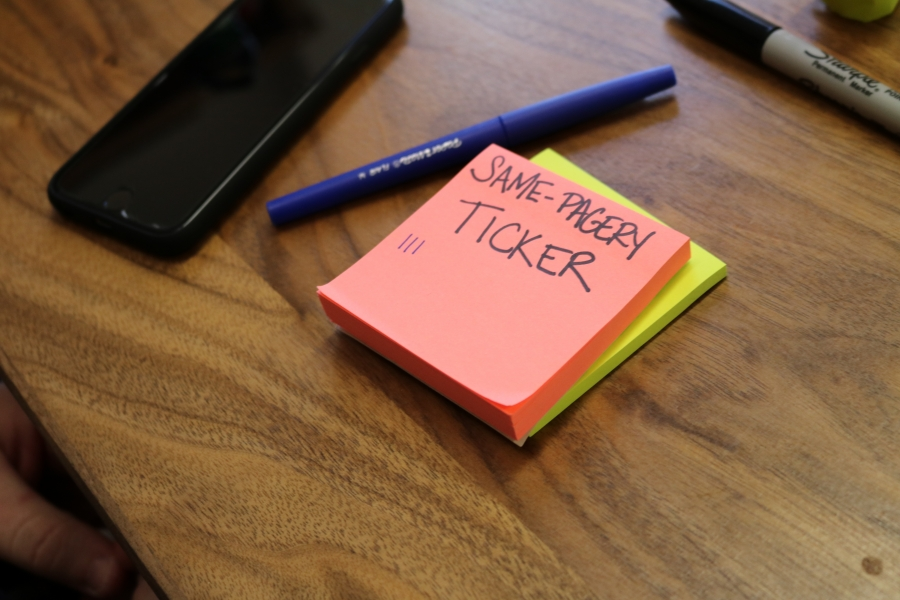 A serious sticky note tally by Mark Shreve